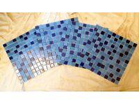 MONTAGE BLUE GLASS MOSAIC TILE SHEETS.