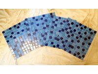 MONTAGE BLUE GLASS MOSAIC TILE SHEETS.