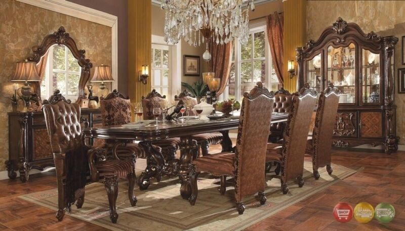 "Versailles 11 Piece Formal Dining Room Set & 120"" Table 8 Chairs + China Cabinet"