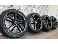 "GENUINE 19"" AUDI SLINE ALLOY WHEEL & TYRES - SHADOW CHROME"