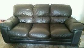 Chocolate brown Leather sofa in good condition