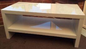 White high gloss coffee table/TV unit