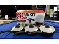YOUR KITCHEN HERO 3PC PAN SET NON-STICK CERAMIC COATING 14/16/18CM