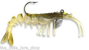 2x  New 90mm Gold Vudu Shrimp Prawn Soft Plastic Fishing Lures Kevlar Body Bass