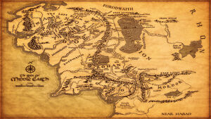Map of Middle Earth The Lord of the Rings Map Fabric poster 43