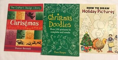 Brand New Lot of Three Holiday and Christmas Doodles and Drawings Books ()