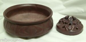 Scarce 1917 Van Briggle Pottery Bowl (Design 608) plus Matching Flower Frog