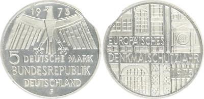 5 DM 1975 F Silber Gedenkmünze Denkmalschutz Fehlprägung Zainende prfr-St.