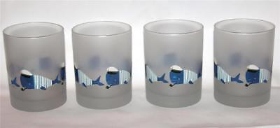 4 Culver Frosted Nautical Striped Sailor Whales DOF LowBall Glass Tumblers NEW