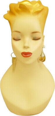 Artistic Vintage Fiberglass Adult Female Mannequin Head With Detailed Face