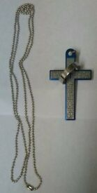 Unisex cross with inscription and fixed ring with chain £4.50