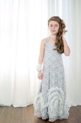 NWT CHASING FIREFLIES PIXIE GIRL BY VICKI SIGG Gretta Gray Lace Dress 6X - Pixie Girl Dresses
