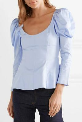 Khaite Blue Nina Cotton Puff Sleeve Top Size 2 6 XS