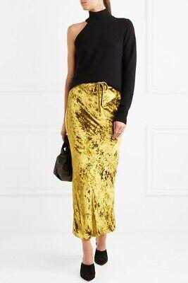Khaite Yellow / Gold Velvet Midi Skirt
