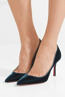 Christian Louboutin Decoltish 85 Pumps Pointy Toe Petrol Velvet Shoes 35.5 NEW, used for sale  Shipping to India