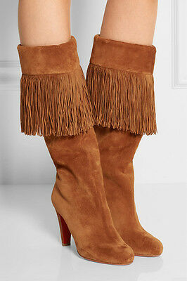 New 5.5 / 35.5 Christian Louboutin Majung 85 Fringed Brown Suede Knee Boot Shoes