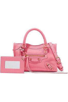 NEWAuthBALENCIAGA Classic City nano texured-leather shoulder bag pink $1150