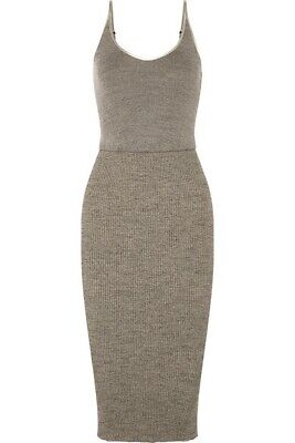 James Perse Ribbed Stretch-Cotton Midi Dress In Grey Size 0 XS WLRK6415