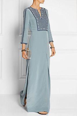 Tory Burch Embroidered Silk Caftan Dress Tunic Maxi Blue Gray Size 2 $695 Runway