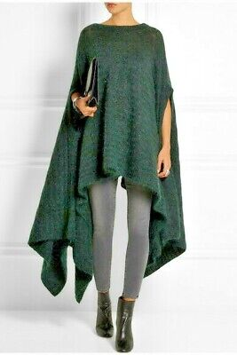 ACNE STUDIOS, Forest Green Mohair Blend, Oversized, Draped, Poncho-Style Sweater
