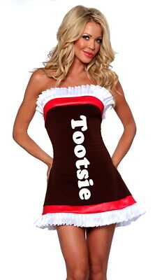 Tootsie Roll Halloween Costume (NEW YANDY.COM TOOTSIE ROLL COS PLAY COSTUME SEXY LADIES DRESS SIZE ADULT S/M)