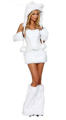 White Bear Cosplay Costume White Fur Sexy Polar Bear Girl Dress Adult Women NEW - Bear Costume Women