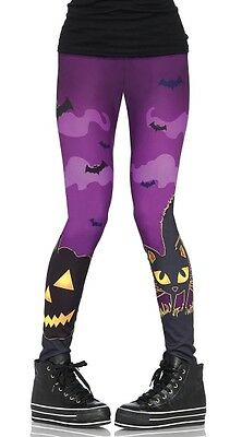 Womens' Fun Spooky Goth Halloween Theme Pumpkin Bats Cat Purple Leggings - Purple Halloween Pumpkin