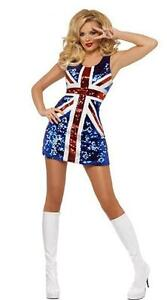 Union Jack Spicegirls Dress, Womens Costume - One Size (AU 8 10 12)