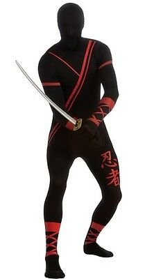 Ninja Costume For Adults (Ninja Costume for Adults 2nd Skin Full Bodysuit Size M & L New by Rubies)