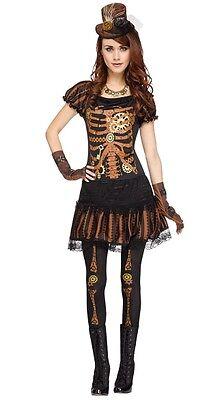 Steampunk Skelett Halloween Kostüm Kleid Outfit (Punk Skelett Kostüm)
