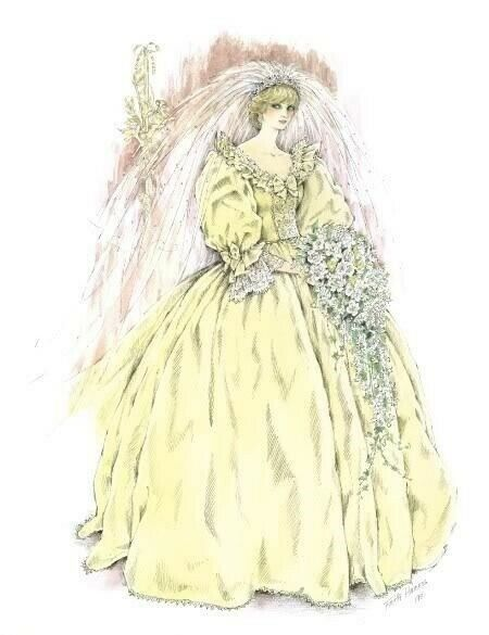 Princess Diana Wedding Gown Portrait - L. Edition of a Painting Owned by Diana