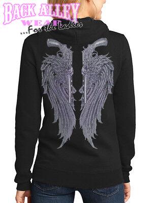 ANGEL WINGS w/ GUNS Ladies Hooded Sweat Shirt Hoodie Pistols Country Saint Angel Wings Hooded Sweatshirt