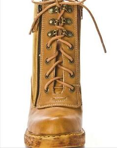 Lace-Up Heeled Booties in Camel Cambridge Kitchener Area image 3