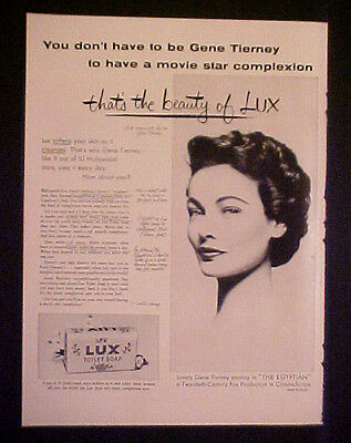1954 Gene Tierney (Movie Star) Lux Toilet Soap The EGYPTIAN Movie Photo Print AD