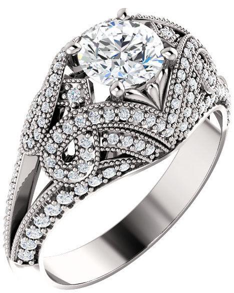 GIA 1.01 carat Round Diamond Vintage Engagement 14k White Gold Ring K SI2