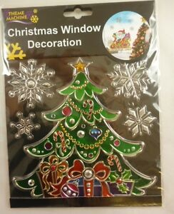 Christmas-Window-Decoration-Sticker-Suncatcher-Tree-With-Snowflakes-DP116