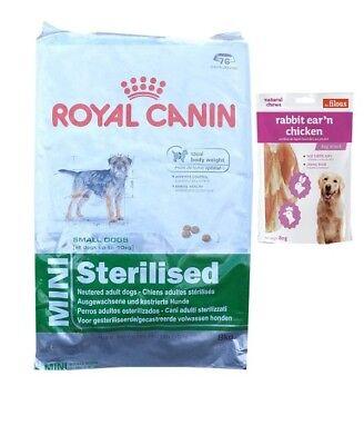 8kg  Royal Canin Mini Sterilised Hundefutter +  80g Fleischsnacks