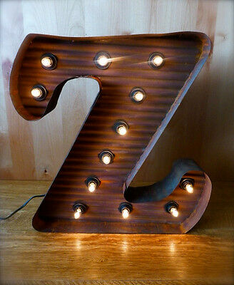 Lg Brown Vintage Style Light Up Marquee Letter Z 24 Tall Metal Rustic Sign