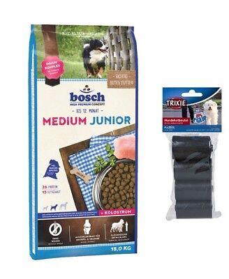 15kg Bosch Junior Medium Hundefutter mittelgroße Rassen + 80 Stk. Kotbeutel