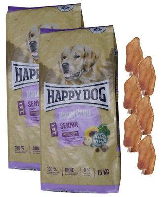2x15kg Happy Dog  Naturcroq Senior Hundefutter +  6 x Kaninchenohren