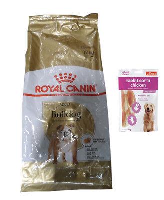 12kg Royal Canin  Bulldog Adult Bulldogge Hundefutter + 80g Fleischsnacks