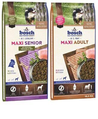 12,5kg Bosch Maxi Senior + 15kg Bosch Maxi Adult Hundefutter