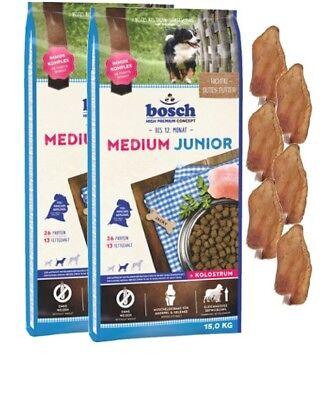 2x15kg Bosch Junior Medium Hundefutter + 6 x Kaninchenohren