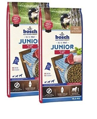 2x15kg Bosch Junior Lamm & Reis Hundefutter für Welpen