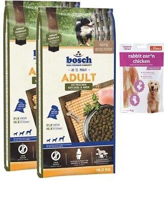 2x15kg Bosch Adult Geflügel & Hirse + 80g Fleischsnacks
