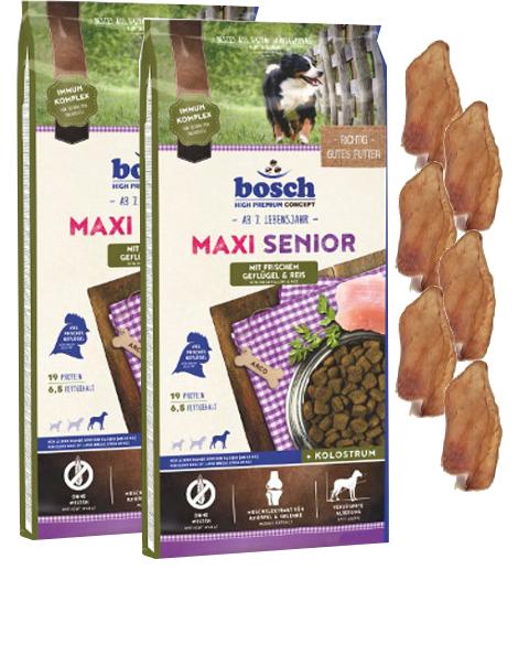 2x12,5kg Bosch Maxi Senior Geflügel & Reis Hundefutter + 6 x Kaninchenohren