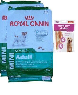 2x8kg  Royal Canin Mini Adult Hundefutter + 80g Fleischsnacks