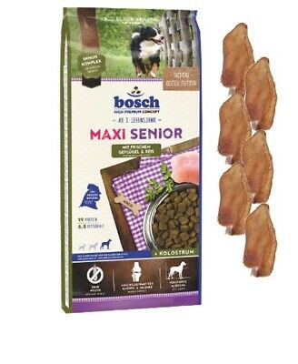12,5kg Bosch Maxi Senior Geflügel & Reis Hundefutter + 6 x Kaninchenohren