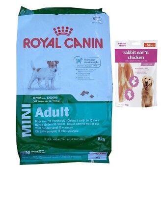 8kg  Royal Canin Mini Adult Hundefutter +  80g Fleischsnacks