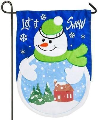 Snowman Snow Globe Applique Garden Flag - 310 denier 100% nylon fabric - NEW!